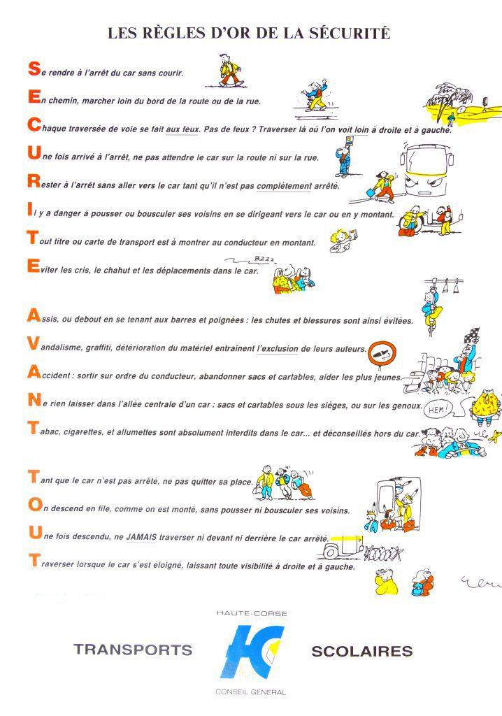 a32s règles d'or sécurite en car
