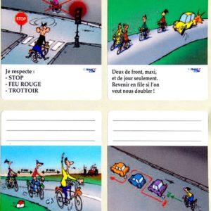Cycliste – Planche de 4 (ou 8) stickers éducatifs à apposer sur livres et cahiers scolaires en septembre